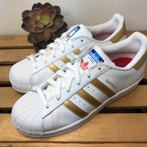 Adidas Superstar gold stripes shoes youth 5 new